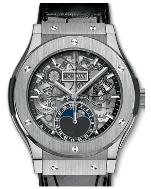 Hublot Classic Fusion Aerofusion Moonphase Titanium Skeleton 42mm Dial Bezel Leather Strap 42mm 547.NX.0170.LR - BRAND NEW