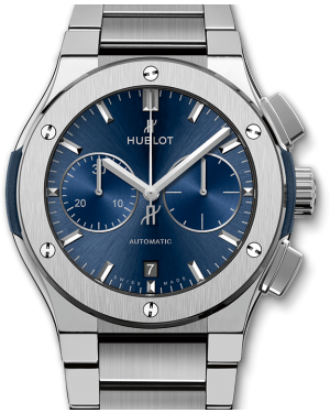Hublot Classic Fusion Chronograph Blue Dial Titanium Bezel & Bracelet 45mm 520.NX.7170.NX - BRAND NEW