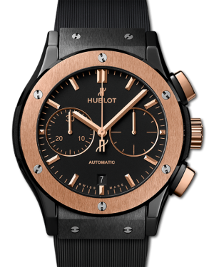 Hublot Classic Fusion Chronograph King Gold Black Dial Rose Gold Bezel Ceramic Rubber Strap 45mm 521.CO.1781.RX - BRAND NEW