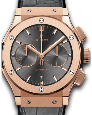 Hublot Classic Fusion Chronograph King Gold Racing Grey Dial Rose Gold Bezel Leather Strap 45mm 521.OX.7081.LR - BRAND NEW