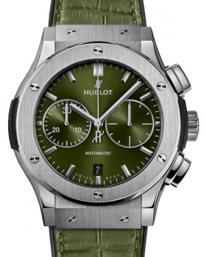 Hublot Classic Fusion Chronograph Titanium 45mm Green Dial Rubber and Alligator Leather Straps 521.NX.8970.LR - BRAND NEW