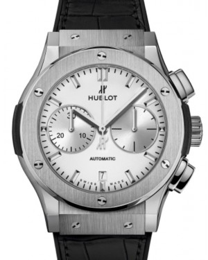 Hublot Classic Fusion Chronograph Titanium Opalin 45mm Silver Dial Rubber and Alligator Leather Straps 521.NX.2611.LR - BRAND NEW