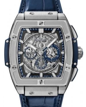 Hublot Spirit Of Big Bang Chronograph Titanium Blue 45mm Skeleton Dial Rubber and Alligator Leather Straps 601.NX.7170.LR - BRAND NEW