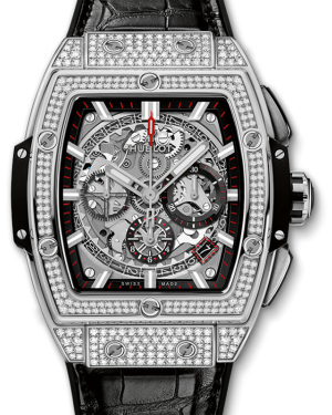 Hublot Spirit of Big Bang Diamond Pave Index Dial & Bezel Titanium Leather Strap 42mm 641.NX.0173.LR - BRAND NEW