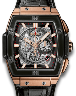 Hublot Spirit of Big Bang Skeleton Index Ceramic Bezel Rose Gold Leather Strap 45mm 601.OM.0183.LR - BRAND NEW