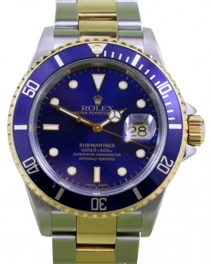 Rolex Submariner 16613 Men's 40mm Blue Index 18k Yellow Gold Stainless Steel Oyster Gold-Through - PRE-OWNED