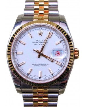 Rolex Datejust 36 116233-WHTSFJ White Index Fluted Yellow Gold Stainless Steel Jubilee BRAND NEW