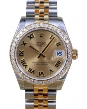 Rolex Datejust 178273 Ladies Midsize 31mm Champagne Roman Diamond Bezel Yellow Gold Jubilee - BRAND NEW