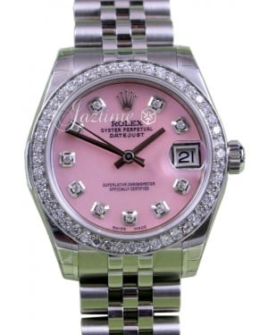 Rolex Datejust 31 Lady Midsize Stainless Steel Pink Mother of Pearl Diamond Dial & Bezel Jubilee Bracelet 178240 - BRAND NEW