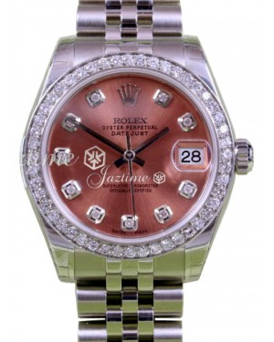 Rolex Datejust 31 Lady Midsize Stainless Steel Pink Diamond Dial & Bezel Jubilee Bracelet 178240 - BRAND NEW