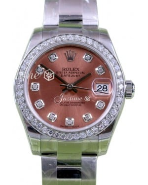 Rolex Datejust 31 Lady Midsize Stainless Steel Pink Diamond Dial & Bezel Oyster Bracelet 178240 - BRAND NEW