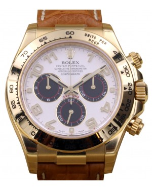 Rolex Daytona 116518 White Arabic 18k Yellow Gold Chronograph BRAND NEW