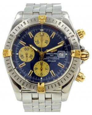 Breitling Chronomat Evolution B13356 Blue Two-Tone Yellow Gold Stainless Steel PRE-OWNED