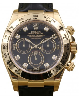 Rolex Daytona 116518 Men's 40mm Black Diamond 18k Yellow Gold Leather - BRAND NEW