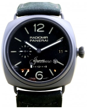 Panerai PAM 384 Radiomir 8 Days Ceramica Black Men's 45mm Leather - BRAND NEW