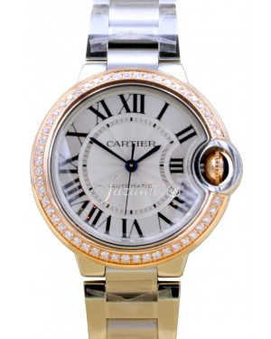 Cartier Ballon Bleu WE902080 Ladies Midsize Silver Diamond 18k Rose Gold Stainless Steel BRAND NEW