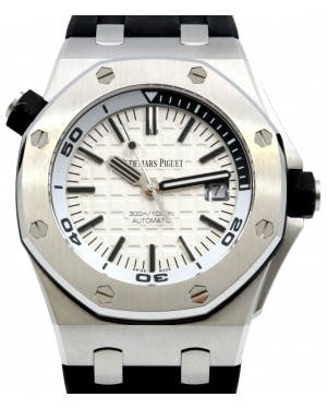 Audemars Piguet Royal Oak Offshore Diver 42mm Silver Index Steel Rubber White 15710ST.OO.A002CA.02 - PRE-OWNED