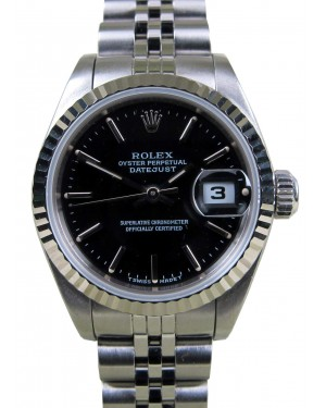 Rolex Datejust 69174 Index Black 18k Fluted Gold Stainless Steel Jubilee