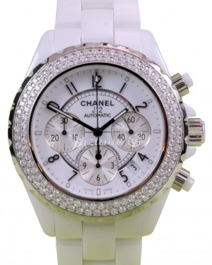 Chanel J12 H1008 White Ceramic Chronograph 41mm Automatic Date BRAND NEW