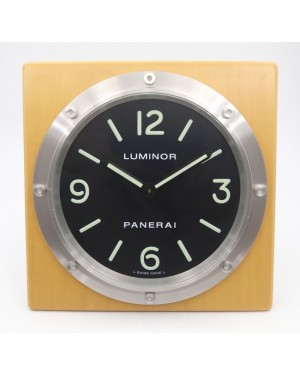 Panerai PAM 151 Luminor Table Clock on Wood Base with Black Dial Pearwood Desk Clock