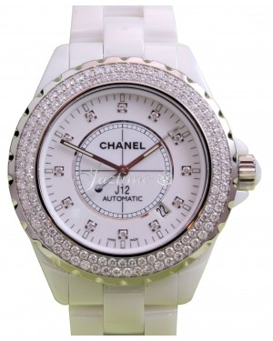 Chanel J12 H2013 42mm White Ceramic Diamond Bezel  Dial Automatic - BRAND NEW