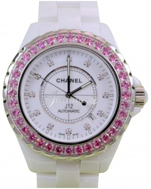 Chanel J12 H2011 42mm White Ceramic Pink Sapphire Diamond Automatic - BRAND NEW