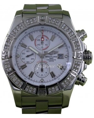 Breitling Super Avenger A13370 Men's 48mm Diamond Bezel White Baton Stainless Steel Chronograph