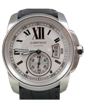 Calibre de Cartier Mens 42mm Stainless Steel White Date Auto W7100037 BRAND NEW