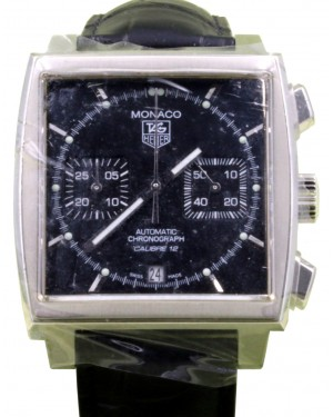 TAG Heuer Monaco Calibre 12 CAW2110.FC6177 39mm Black Index Stainless Steel Leather Date BRAND NEW