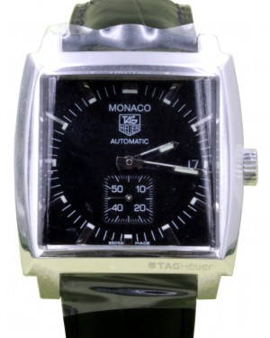 TAG Heuer Monaco WW2110.FC6177 37.5mm Black Index Stainless Steel Leather Date BRAND NEW