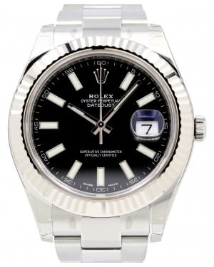 Rolex Datejust II 41mm Stainless Steel Black Index White Gold Bezel Oyster Bracelet 116334- BRAND NEW