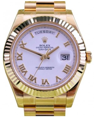 Rolex Day-Date II 218238-WHTRFP 41mm White Roman Fluted Yellow Gold President BRAND NEW