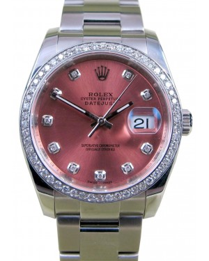 Rolex Datejust 116200 Pink Diamond Dial Bezel 36mm Stainless Steel Oyster