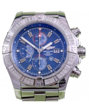 Breitling Super Avenger A13370 Diamond Bezel 48mm Blue Baton Stainless Steel