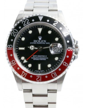 """Rolex GMT-Master II 16710 Men's 40mm """"Coke"""" Black Red Stainless Steel Oyster Date No Holes"""