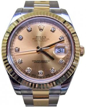 Rolex Datejust II 116333 Diamond Champagne 41mm Yellow Gold BRAND NEW