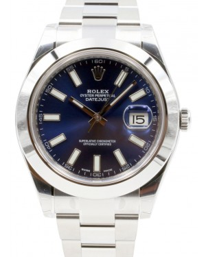 Rolex Datejust II 116300 Men's 41mm Index Blue Domed Stainless Steel BRAND NEW