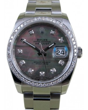 Rolex Datejust 116200 Diamond Dark Mother of Pearl Oyster Diamond Bezel 36mm