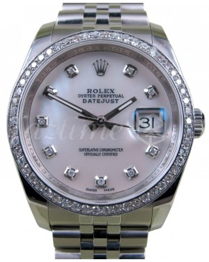 Rolex Datejust 116200 White Mother Of Pearl Diamond 36mm Stainless Steel Jubilee BRAND NEW