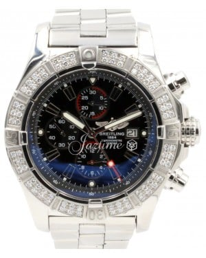 Breitling Super Avenger A13370 Black Baton Diamond Bezel 48mm XL Stainless Steel Pro 2