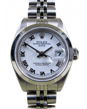 Rolex Date 79160 Ladies 26mm White Roman Stainless Steel Jubilee