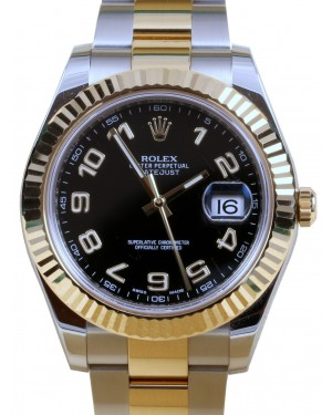 Rolex DateJust II 41mm Yellow Gold & Steel Black Arabic Dial Oyster Bracelet 116333 - PRE-OWNED