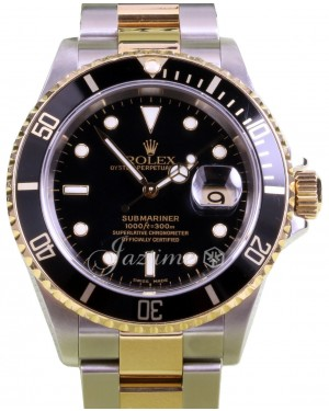 Rolex Submariner 16613 Black 40mm 18k Yellow Gold No Holes Gold Through - PRE-OWNED