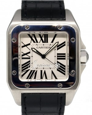 Cartier Santos 100 W20073X8 Large Men's Stainless Steel Leather