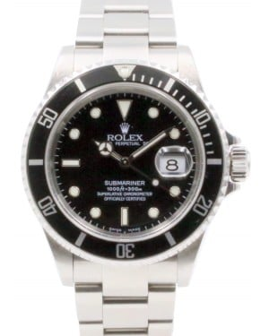 Rolex Submariner 16610 Black 40mm Stainless Steel Automatic No Holes - PRE-OWNED
