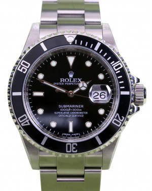 Rolex Submariner 16610 Black 40mm Stainless Steel Inscribed Rehaut - PRE-OWNED
