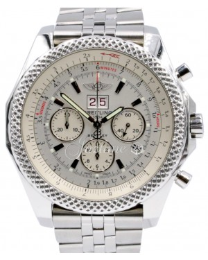 Breitling Bentley 6.75 A44364 Men's 48mm White Index Chronograph Stainless Steel BOX PAPERS