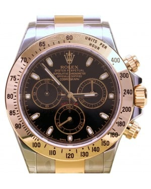Rolex Daytona 116523 Black Chronograph Yellow Gold Stainless Steel BRAND NEW
