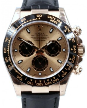 Rolex Daytona 116515LN Ceramic 40mm Champagne 18k Rose Gold Black Leather BRAND NEW