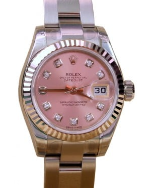 Rolex Datejust 179174 Ladies 26mm Pink Diamond White Gold Stainless Steel BRAND NEW